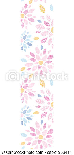 Flores textiles abstractas coloridas de flores verticales en la frontera sin fondo - csp21953411