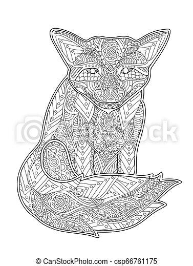 Página de color con Fox en fondo blanco - csp66761175