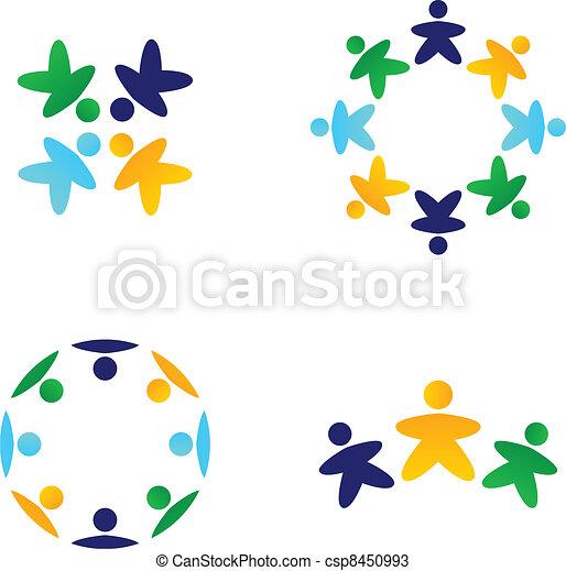 coloridos, ícones, multicultural, junto, equipes, conectando - csp8450993