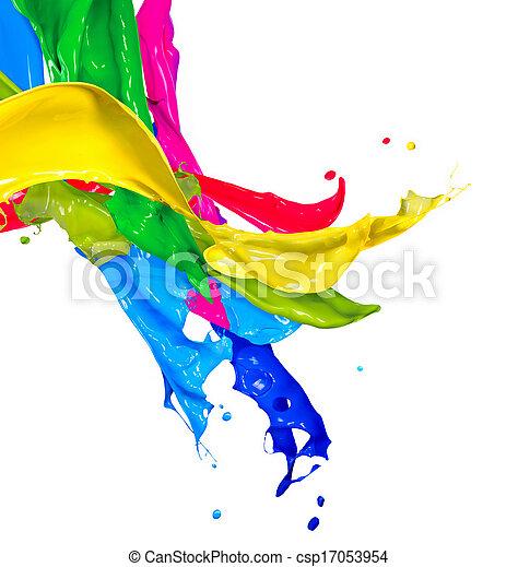 coloridos, abstratos, isolado, respingo tinta, white., respingue - csp17053954
