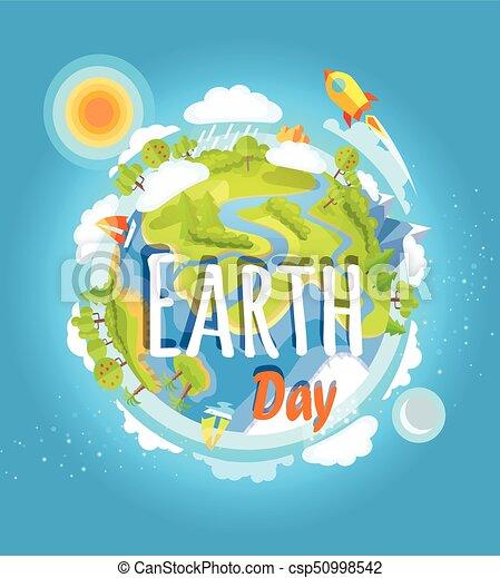 Coloridos Cartaz Planeta Modelo Dia Terra