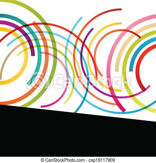 coloridos, cor, abstratos, linhas, ilustração, redondo, vetorial, fundo, ondas, círculo, elipse, mosaico - csp19117909