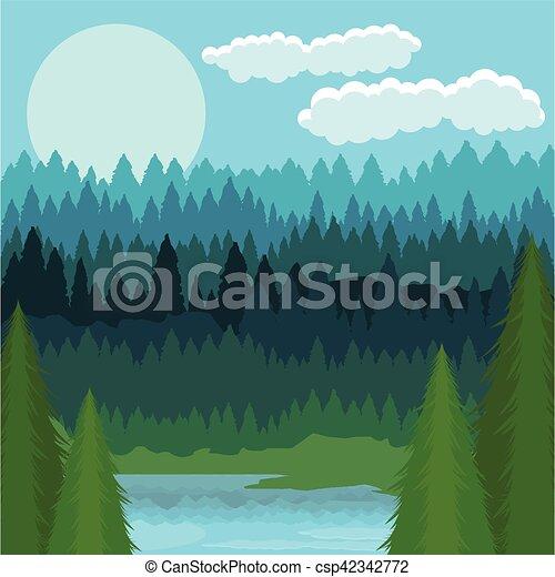 Coloridos Desenho Floresta Paisagem Bonito Ao Ar Livre