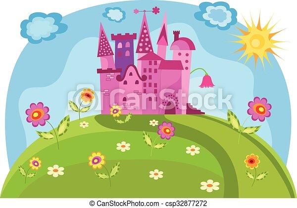 Coloridos Ilustracao Princesa Castelo Vetorial Ilustracao
