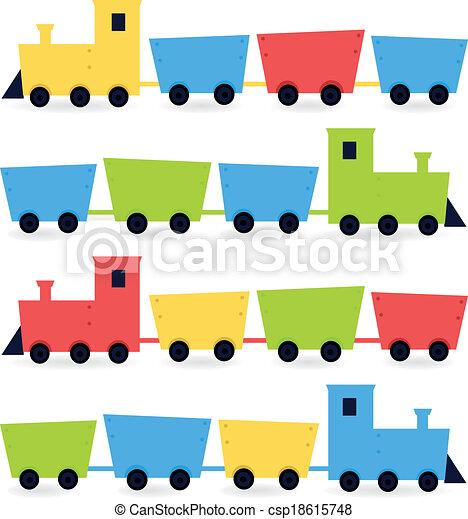 coloridos, infantil, isolado, trens, branca, caricatura - csp18615748