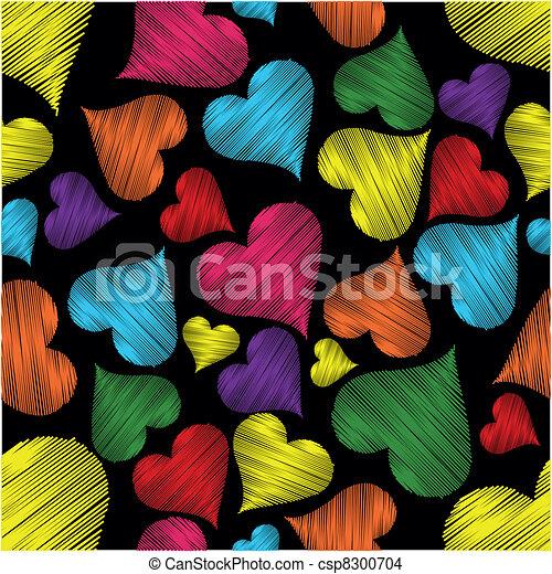 coloridos, padrão, valentines, seamless, textura, day., experiência preta, corações, linha - csp8300704