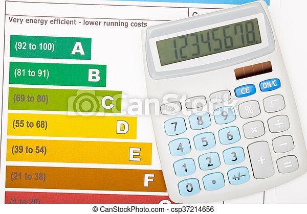 coloridos, sobre, mapa, eficiência, energia, calculadora - csp37214656