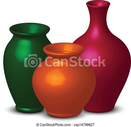 Vetorial Ilustracao Coloridos Vasos