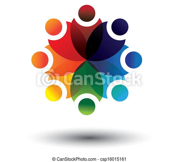 coloridos, vetorial, círculo, conceito, crianças, escola, aprendizagem - csp16015161