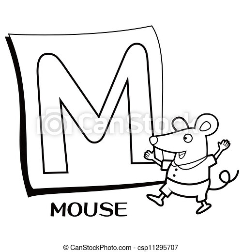 Coloring Alphabet For Kids M With Mouse