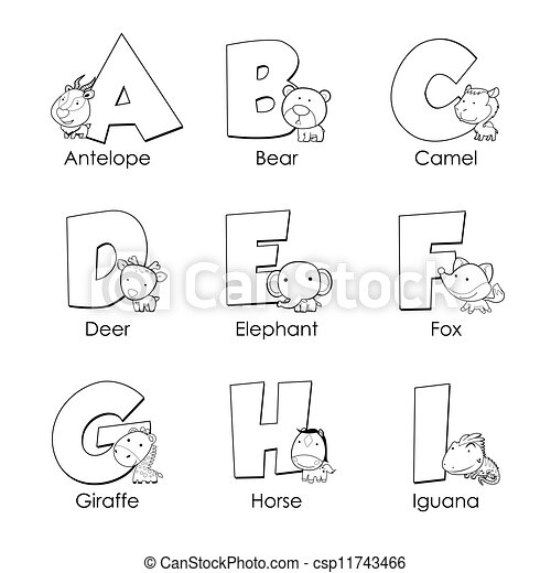 Coloring Alphabet For KidsA To I