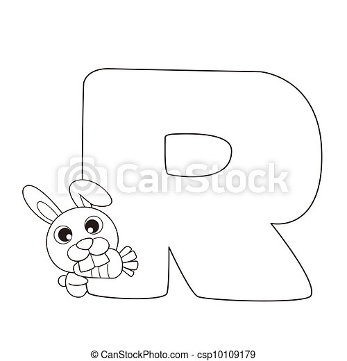 Coloring Alphabet for Kids,R - csp10109179