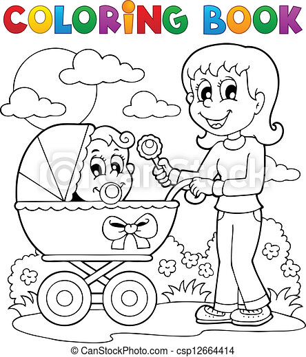 Coloring book baby theme image 2 - csp12664414