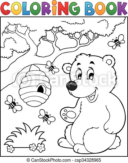 Coloring book bear theme 2 - csp34328965
