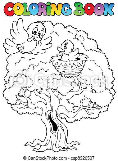Coloring book big tree with birds - csp8320507