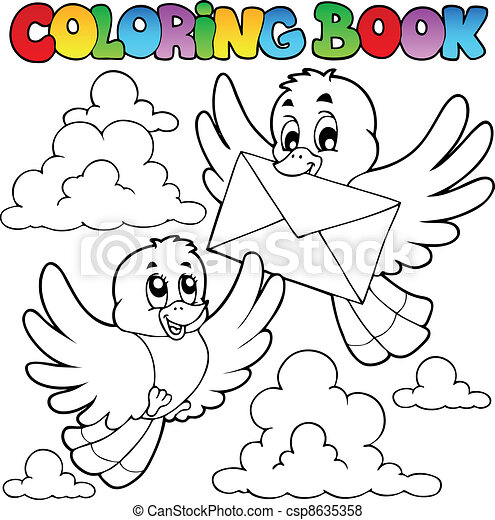 Coloring book birds with envelope - vector illustration. vector ...