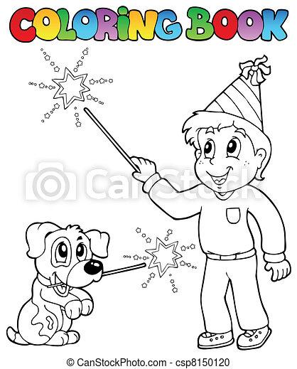 Coloring book boy with sparkler - csp8150120