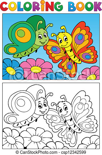 Coloring book butterfly theme 1 - csp12342599