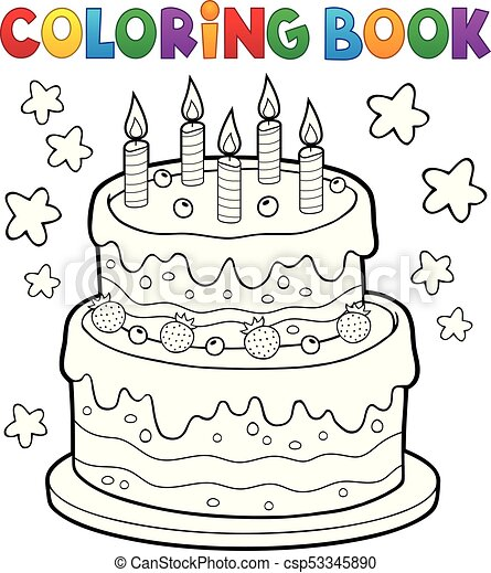 Coloring book cake with 5 candles csp53345890