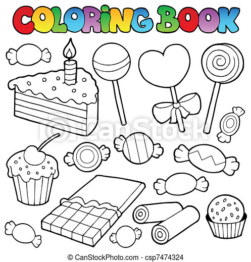 EPS Vector of Coloring book candy and cakes - vector illustration ...
