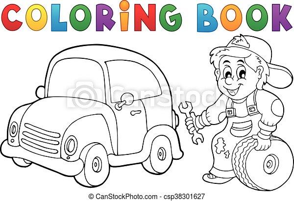 Coloring book car mechanic.