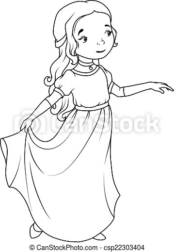 Coloring Book Cartoon Girl Wearing Classic Long Dress