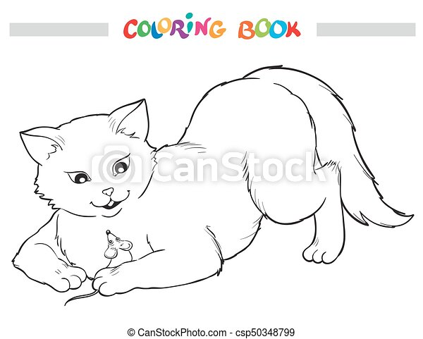 - Coloring Book. Cat And Mouse. Coloring Book With Cat And Mouse. Vector  Outline Illustrstion.