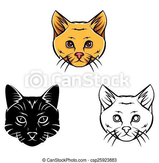 Coloring Book Cat Head Character