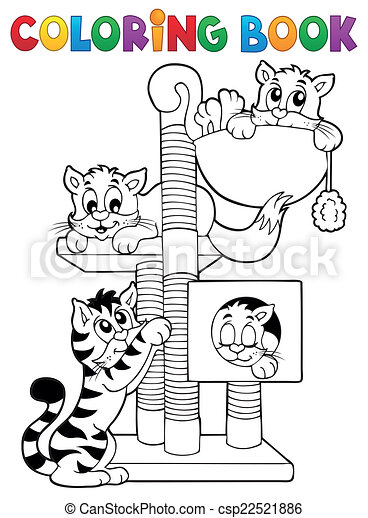 Coloring book cat theme 1 - csp22521886