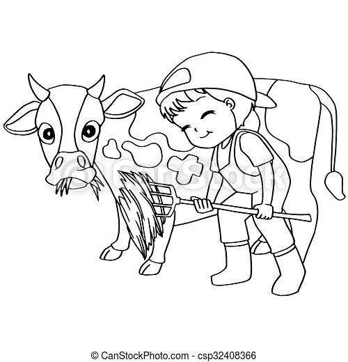 Coloring Book Child Feeding Cow Vec