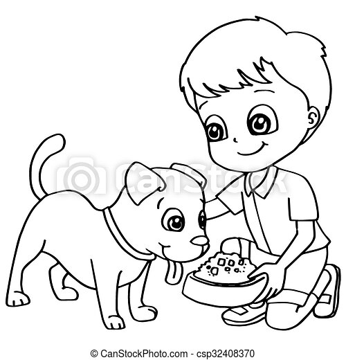 Coloring book child feeding dogs ve. Image of coloring book child ...