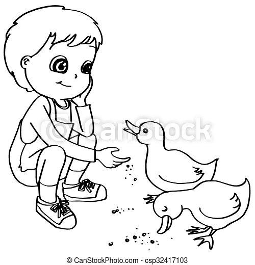 Coloring Book Child Feeding Ducks