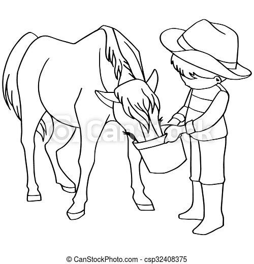 Coloring Book Child Feeding Horse V