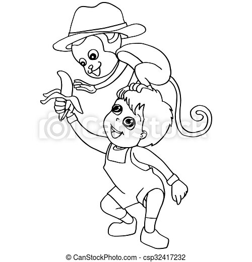 Image of coloring book child feeding monkey vector vectors - Search ...