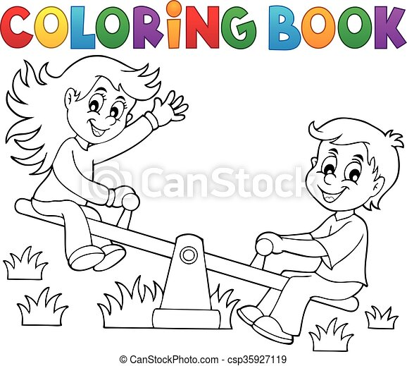 Coloring book children on seesaw theme 1 vector clip art - Search ...