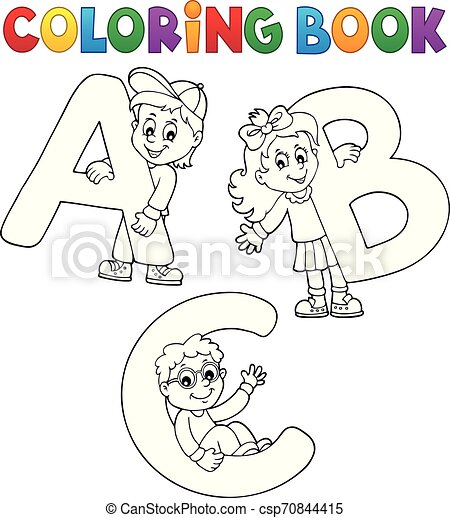 Coloring Book Children With Letters Abc Eps10 Vector Illustration Canstock
