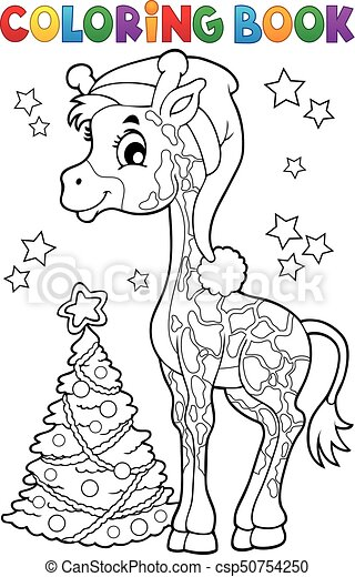 Coloring Book Christmas Giraffe