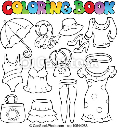 Coloring book clothes theme 2 - csp10544288
