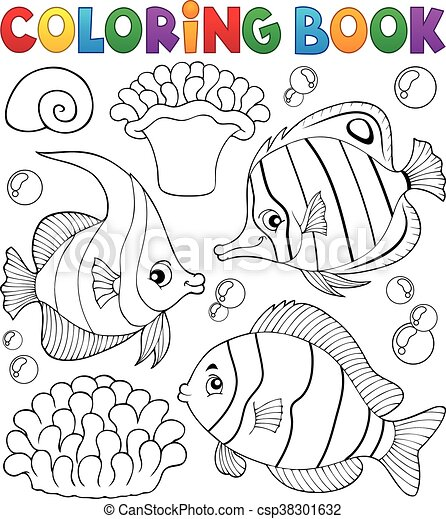 Coloring book coral fish theme 1 - eps10 vector illustration.