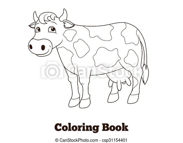 Coloring book cow cartoon educational illustration. Coloring book ...