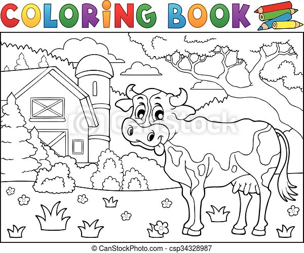 Coloring book cow near farm theme 2 - csp34328987