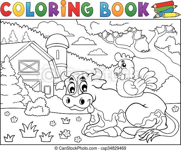 Coloring book cow near farm theme 3. Coloring book cow near farm theme .