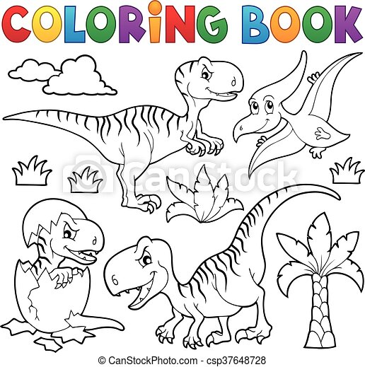 Coloring book dinosaur - csp37648728