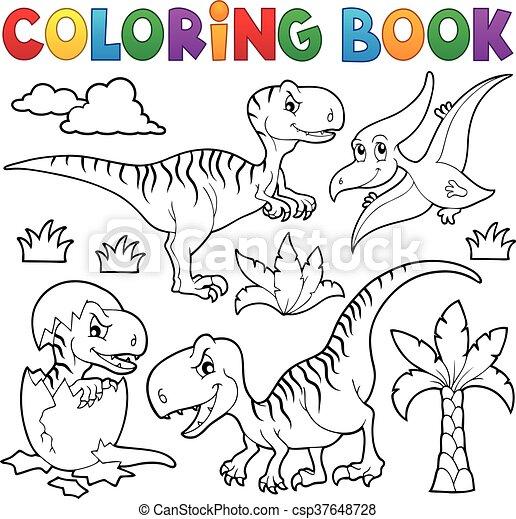 Coloring book dinosaur - csp37648728