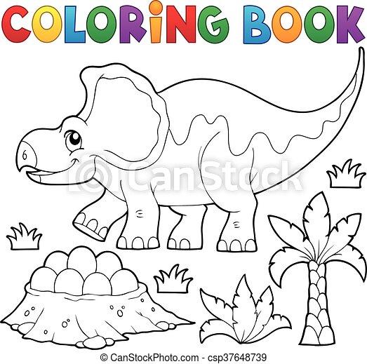 Coloring book dinosaur topic 3 - csp37648739