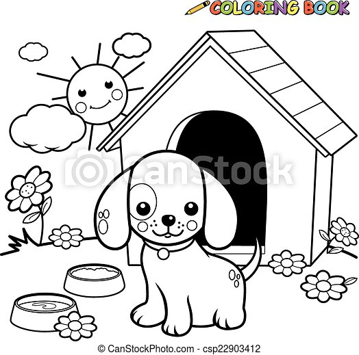 Coloring book dog outside doghouse. A black and white outline image ...