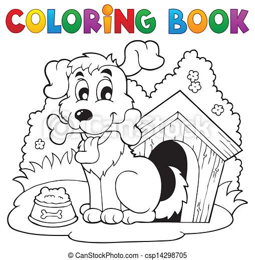 Coloring book dog theme 1 - csp14298705
