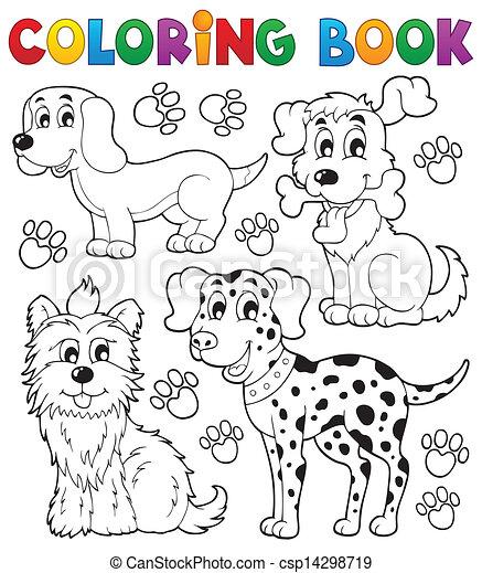 Coloring book dog theme 5 - csp14298719