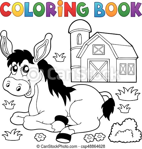 Coloring book donkey and farm - csp48864628
