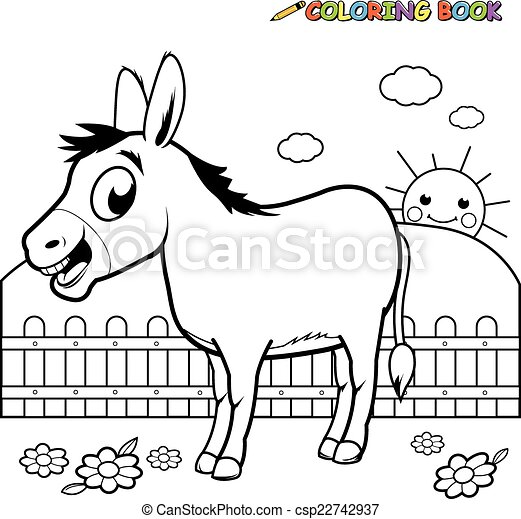 Coloring book donkey. A black and white outline image of a cartoon ...